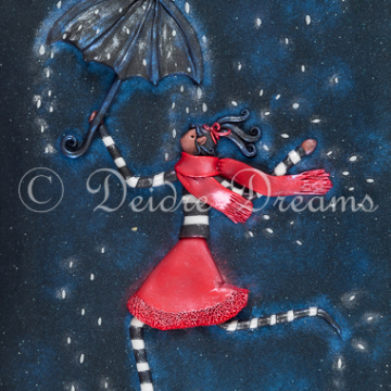 Girl with Umbrella Art Print - 20x30 cm