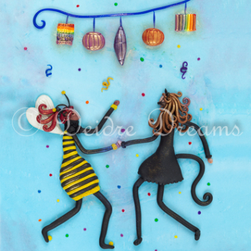 Bee Girl and Cat Girl Art Print - 20x30 cm