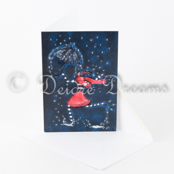 Fashion Girl with Umbrella Greeting Card