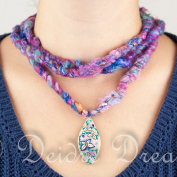 Sarah's Butterflies 1 - Art Yarn Necklace with Hand Sculpted Polymer Clay Butterfly Pendant