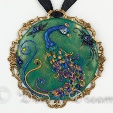 Peacock Ornament Original Hand Sculpted Polymer Clay Art Pendant