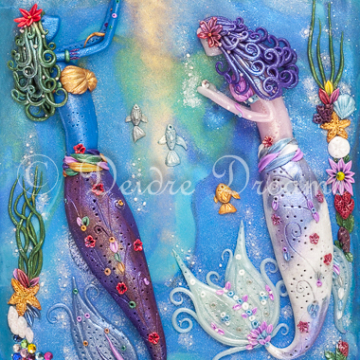 Mermaids in Underwater Scene Art Print - 20x30 cm