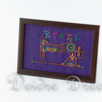 Create Antique Singer Sewing Machine Original Sculpted Doodle Painting