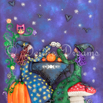 Downloadable Witches Tea Party Print - Digital Download Print