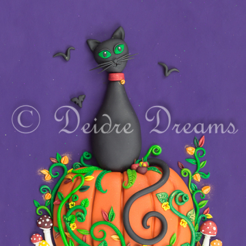 Downloadable Halloween Cat on Pumpkin Print - Instant Download Print