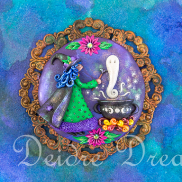 Downloadable Witch with Cauldron Print - Digital Download Print