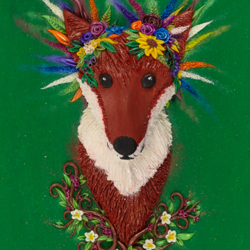 Dowloadable Fox in Flower Crown Art Print - Instant Download