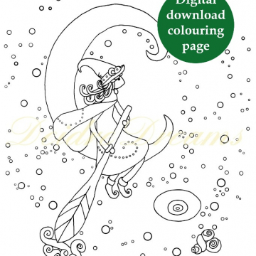 Witch in crescent moon coloring page - Heks kleurplaat
