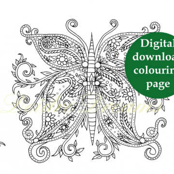 Butterfly colouring page - Zentangle download colouring page