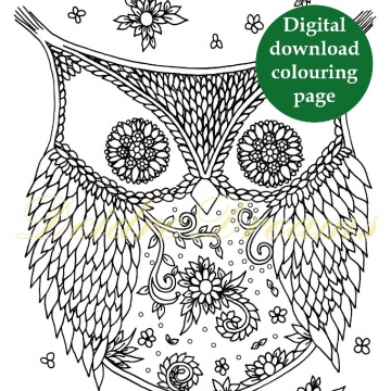Ornamental owl coloring page - digital download colouring page