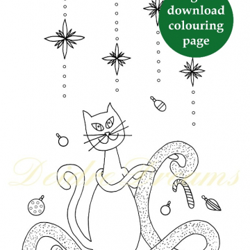 Christmas cat coloring page - Printable colouring page