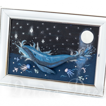 Humpback Whale Polymer Clay Sculpted Painting
