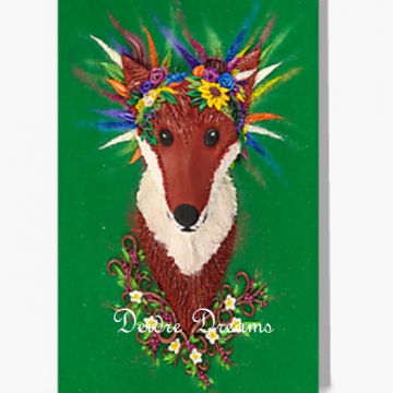 Fox with Flower Crown Greeting Card