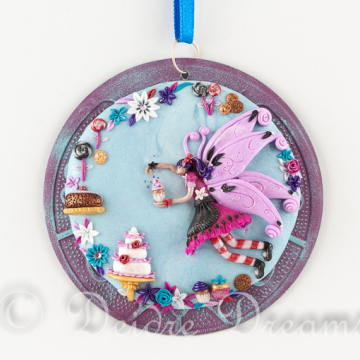Cupcake Fairy Original Polymer Clay Art Pendant