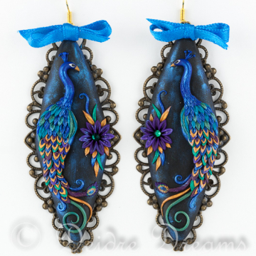 Peacock Magic - Polymer Clay Peacock Art Earrings