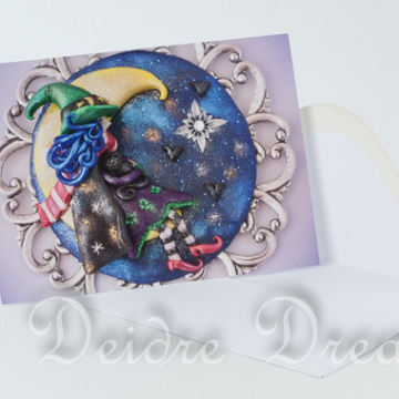 Witch in Crescent Moon Greeting Card