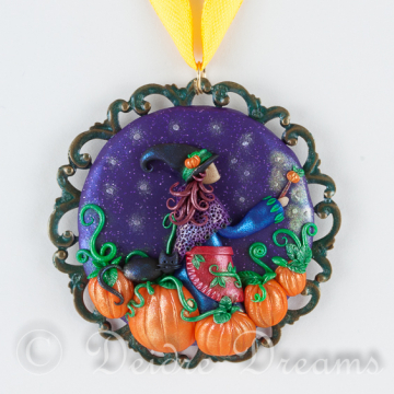 Tending the Pumpkin Patch - Witch Art Pendant