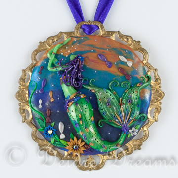Mermaid Ornament Original Polymer Clay Art Pendant