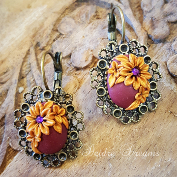 Wine Red Earrings - Boho Earrings - Floral Earrings