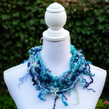 Blue Lock Art Yarn Necklace - Statement Necklace - Boa Necklace