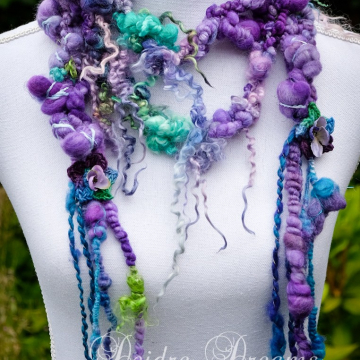 Purple Boa Art Yarn Scarf