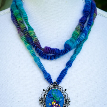 Blue Art Yarn Necklace with Ornate Polymer Clay Floral Pendant
