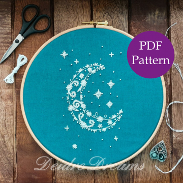 Crescent moon embroidery pattern