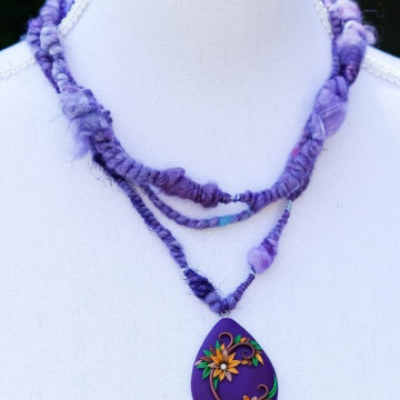 Purple Hippie Art Yarn Necklace with Large Polymer Clay Flower Pendant