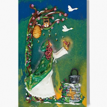 Brigid Goddess of Fire and Spring Greeting Card - Saint Brigid Greetings Card