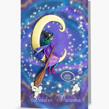 Witch Sailing in Crescent Moon Greeting Card