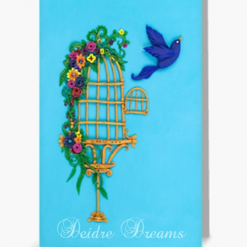 Bird Flying from Birdcage Greeting Card