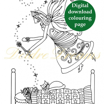 Fairy Godmother colouring page - Digital download coloring page